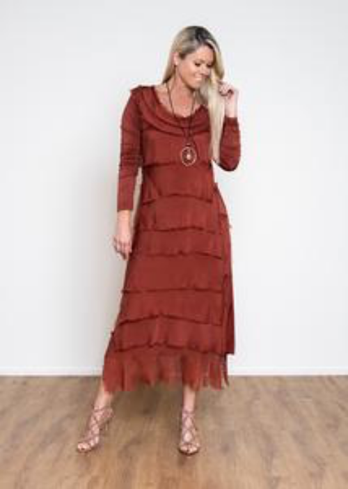 MIRRA MIRRA Rust Silk Layered Dress
