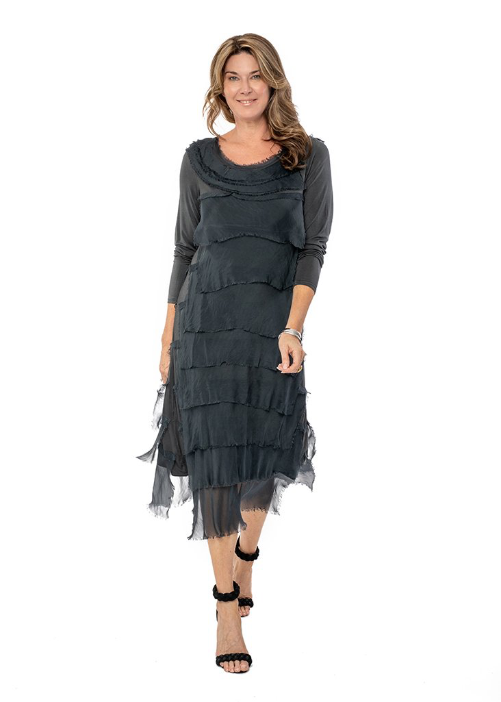 MIRRA MIRRA Charcoal Silk Layered Dress