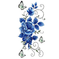Faux tatouage femme fleurs bleues & papillons tatouage éphémère ephemere temporaire faux tatoo fake autocollant bleu fleur rose papillon tattoo-ephemere