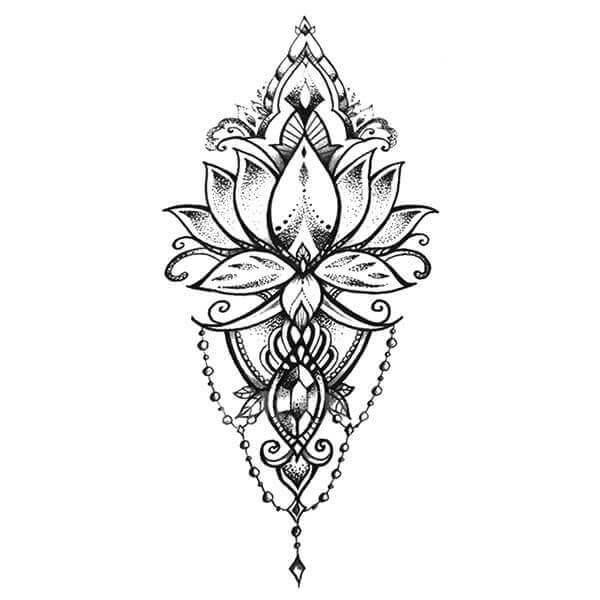 Lotus hindou tattoo ephemere tatouage temporaire faux tatouage tatoo tatou fleur underboob