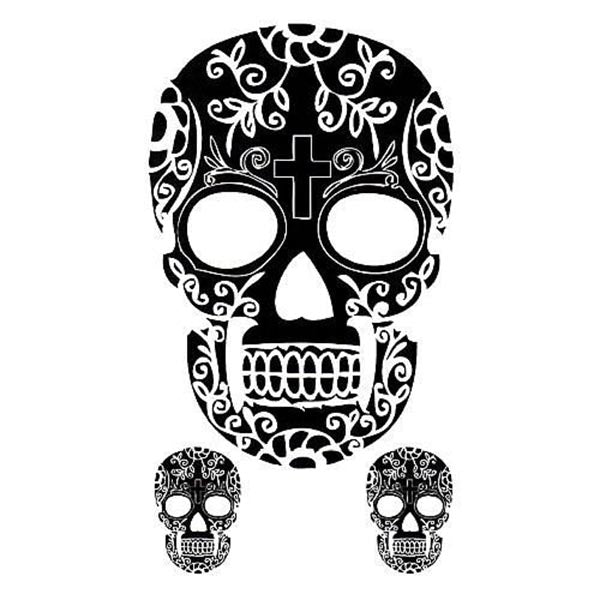 Tatouage Calavera Ephemere homme femme tête de mort croix skull mexicain tatouage temporaire faux tatoo fake autocollant tattoo ephemere