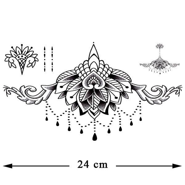 Tatouage underboobs entre les seins Lotus mandala noir tatouage éphémère tatouage temporaire faux tatouages fake underboob poitrine femme sexy tatoo autocollant fake décalcomanie non permanent tattoo ephemere