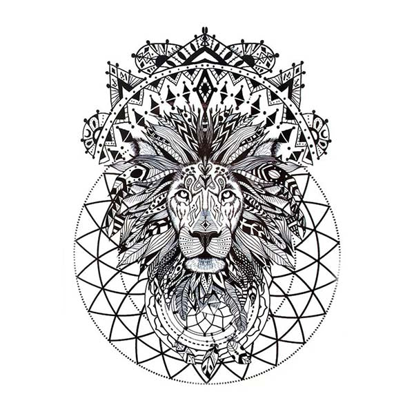 Tatouage ephemere lion & mandala tatouage temporaire faux tatouages tatoo tattoo-ephemere