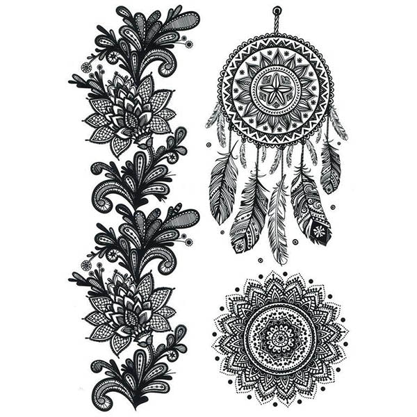 Tatouages temporaire attrape-reves & mandala pack tatouage ephemere faux tatouage tatoo tattoo-ephemere