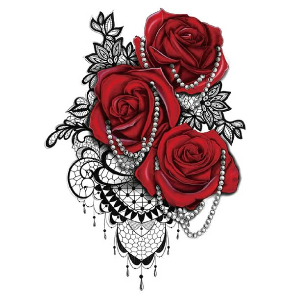 Tatouage temporaire roses perles & dentelles faux tatouage fake tatoo autocollant éphémère non permanent rose rouge femme tattoo-ephemere
