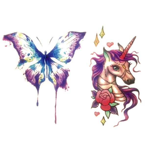 tatouage éphémère licorne & papillon en couleurs pour femme homme tatouage temporaire faux tatoo fake autocollant non permanent provisoire tattoo-ephemere