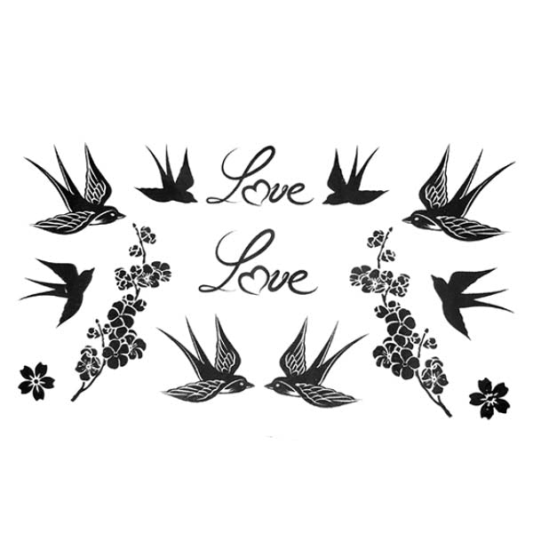 tatouage éphémère oiseaux love et fleurs tatouage temporaire femme homme faux tatoo fake autocollant malabar temporary tattoo ephemere