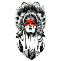 Tatouage ephemere Indienne rouge femme indien plume tatouage temporaire faux tatouage tatoo tattoo-ephemere