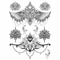 Tatouages éphémères underboobs entre les seins Chouette lune lotus mandala faux tatouage autocollant tatouage temporaire underboob poitrine femme temporary tattoo non permanent tattoo ephemere