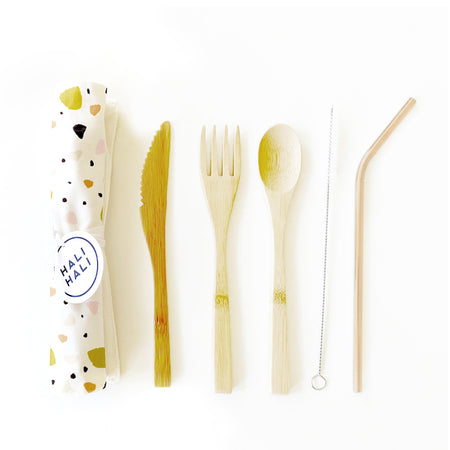 Eco Friendly 6 pc Reusable Cutlery Set - Small Terrazzo