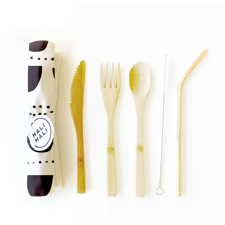 Eco Friendly 6 pc Reusable Cutlery Set - Streamers BW