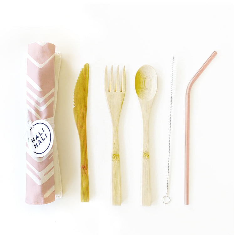 Eco Friendly 6 pc Reusable Cutlery Set - Sunbeams Blush