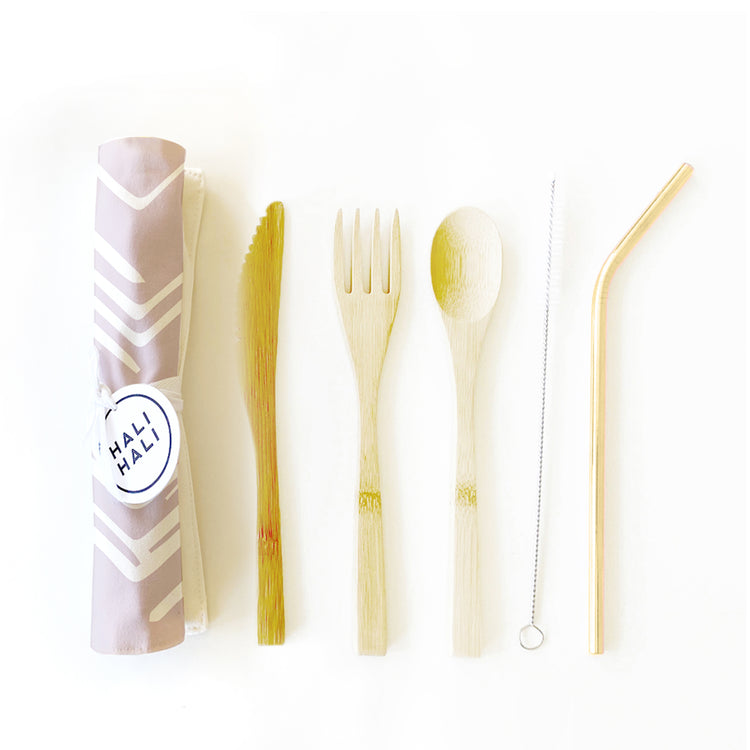 Eco Friendly 6 pc Reusable Cutlery Set - Lilac