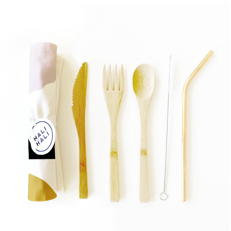 Eco Friendly 6 pc Reusable Cutlery Set - Sunset