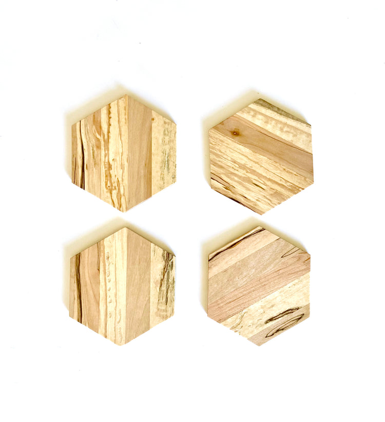 4pc Set of Hexagon Wooden Coasters