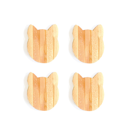 4pc Set of Kitty Wooden Coasters
