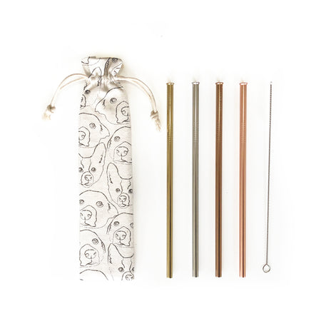 Reusable Straws 6 piece Set - Doggy