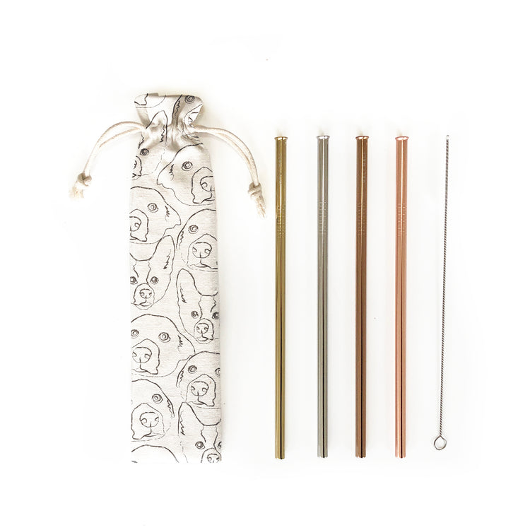 Reusable Straws 6 piece Set - Love Your Doggy