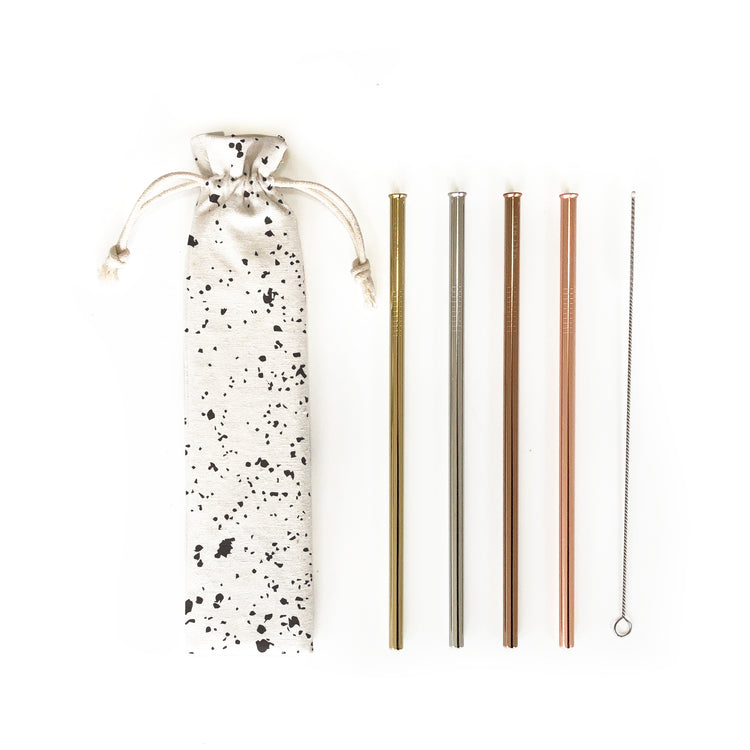 Reusable Straws 6 piece Set - Splatter