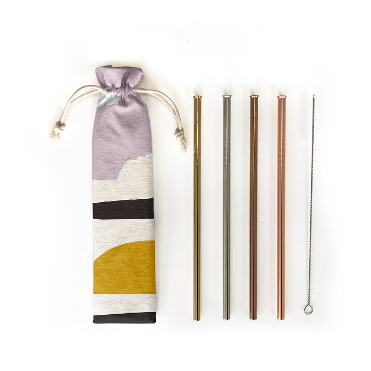 Reusable Straws 6 piece Set - Sunset