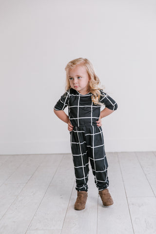 Midnight Plaid Romper