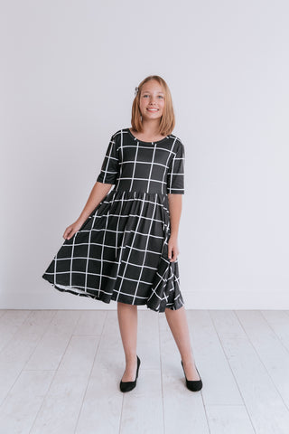 Midnight Plaid Twirl Dress
