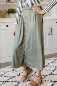 Olive Green Button Skirt