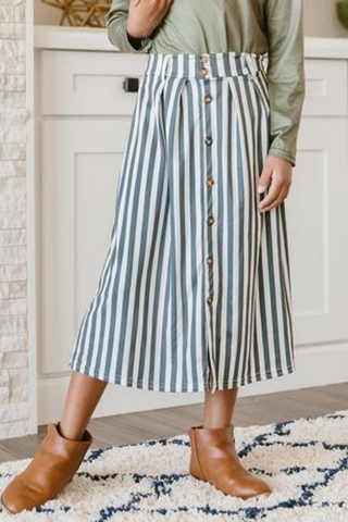 Classic Grey Stripe Button Skirt