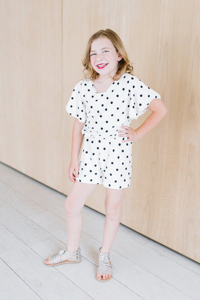 White and Navy Dot Flutter Romper