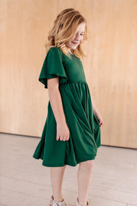 Pine Flutter Sleeve Dress