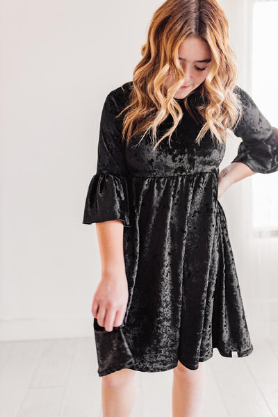 Black Velvet Twirl Dress