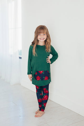 Pine Green and Navy Rose Tunic and Leggings