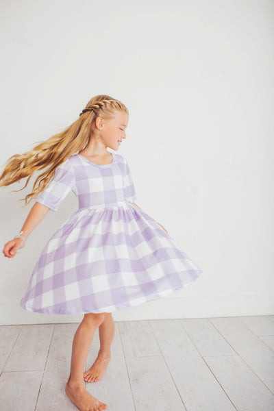 Purple Plaid Twirl Dress