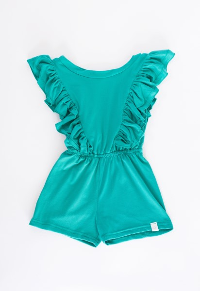Tropical Green Ruffle Romper