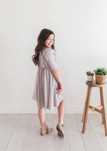 Tropical Gray Twirl Dress with Ruffles