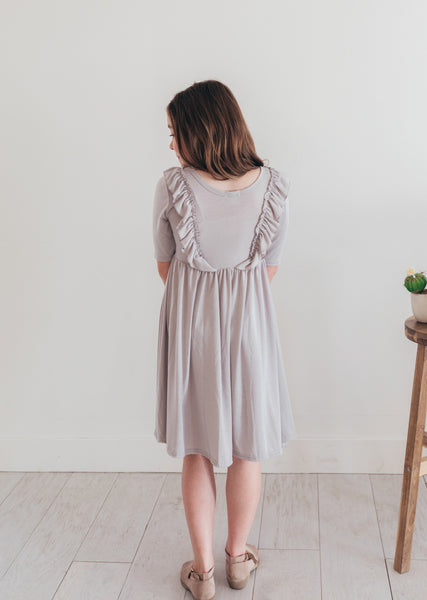 Classic Gray Twirl Dress with Ruffles