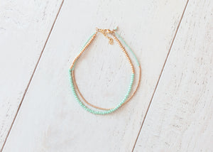 Pastel Green and Gold Necklace