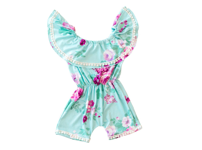 Purple Petal Green Summer Romper