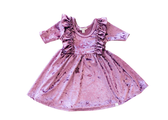 Soft Purple Velvet Twirl Dress with Ruffles