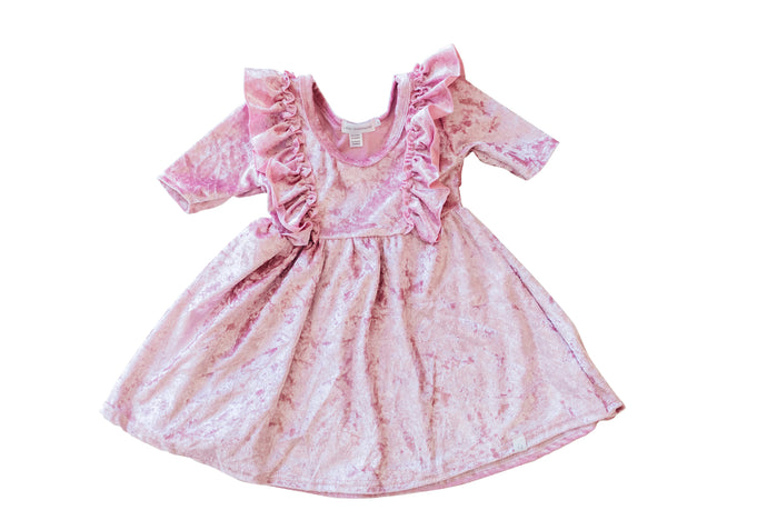 Soft Pink Velvet Twirl Dress with Ruffles