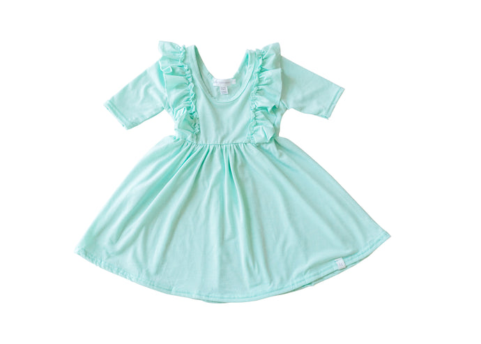 Pastel Green Twirl Dress with Ruffles