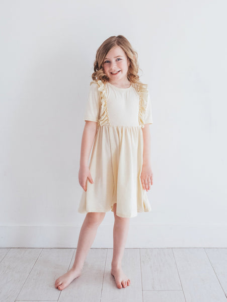 Pale Yellow Ruffle Dress