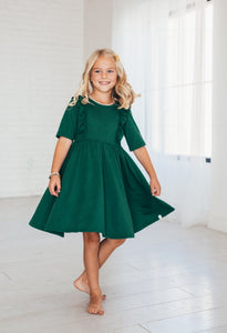 Pine Green Twirl Dress With Ruffles