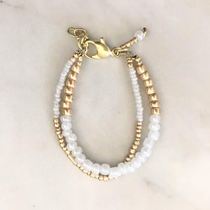 Everyday White and Gold Bracelet