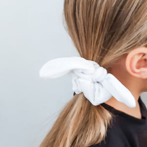 White Bow Scrunchie
