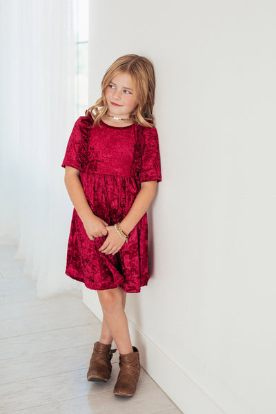 Berry Velvet Twirl Dress with Ruffles