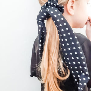 Black Polka Dot Ponytail Scarf