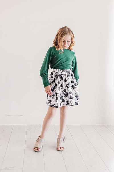 Winter Floral Pocket Skirt