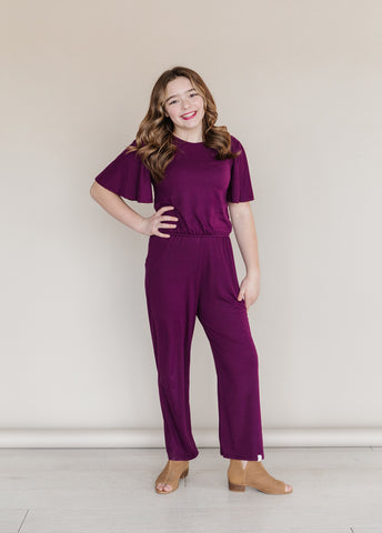 Perfect Plum Flutter Sleeve Romper