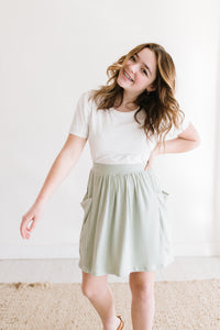 Sage Green Pocket Skirt